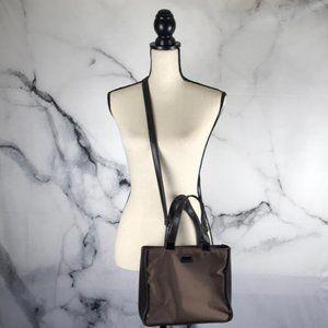 PERLINA bag brown nylon & leather crossbody